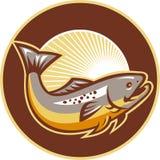 Círculo de salto del resplandor solar de los pescados de la trucha libre illustration