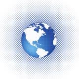 Círculo de semitono /dots con el globo del mundo Imagen de archivo libre de regalías