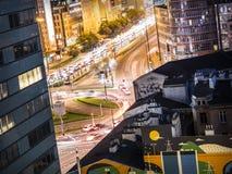 Círculo de tráfego em Varsóvia - Polônia fotos de stock royalty free