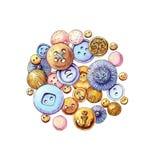 Círculo del botón de la violeta y del oro Foto de archivo libre de regalías