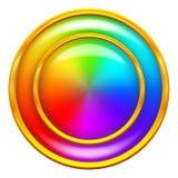 Círculo del botón del arco iris Imagen de archivo libre de regalías