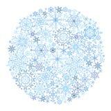 Círculo del copo de nieve en el fondo blanco Imagenes de archivo
