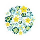 Círculo del ejemplo del vector con las flores tropicales Fotos de archivo
