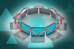 Círculo del establecimiento de una red del ordenador portátil Fotos de archivo libres de regalías
