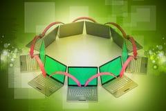 Círculo del establecimiento de una red del ordenador portátil Imagen de archivo libre de regalías