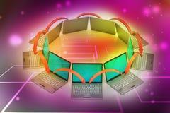 Círculo del establecimiento de una red del ordenador portátil Imagen de archivo
