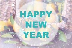 Círculo del fondo de la Feliz Año Nuevo Foto de archivo