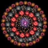 Círculo del fuego artificial Fotografía de archivo
