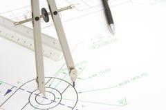 Círculo del gráfico con un compás imagenes de archivo