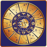 Círculo del horóscopo Muestra del zodiaco con constelaciones ilustración del vector