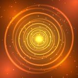Círculo del neón del oro stock de ilustración