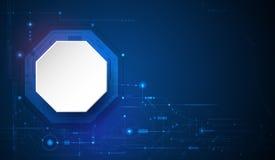 Círculo del papel del diseño 3d del vector con la placa de circuito Digitales de alta tecnología conectan, comunicación, concepto fotos de archivo libres de regalías
