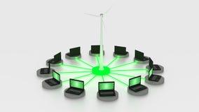 Círculo del powerd de los cuadernos por energía verde Imagen de archivo libre de regalías