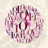Círculo del texto del amor de la tarjeta del día de San Valentín Imagen de archivo