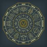 Círculo del zodiaco con las muestras del horóscopo Línea fina diseño del vector Símbolos de la astrología y muestras místicas ilustración del vector