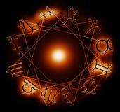 Círculo del zodiaco del fuego stock de ilustración