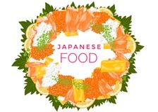 C?rculo do alimento, varas do caranguejo, arroz, caviar, folhas tiradas m?o da manjeric?o e omeleta japoneses isolados ilustração royalty free
