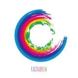 Círculo do arco-íris da escova para seu projeto Quadro colorido isolado Vetor Foto de Stock Royalty Free
