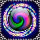 Círculo do arco-íris do fundo com pedras preciosas em uma espiral Imagem de Stock