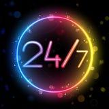 Círculo do arco-íris do néon 24/7 Fotos de Stock