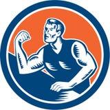 Círculo do bloco xilográfico do campeão da luta romana de braço Imagens de Stock