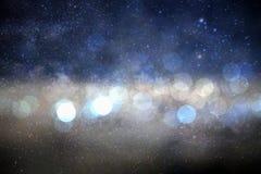 Círculo do bokeh do borrão no fundo da Via Látea da galáxia Foto de Stock Royalty Free