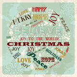 Círculo do conceito do Feliz Natal do vintage Fotografia de Stock Royalty Free