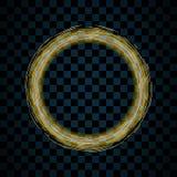 Círculo do ouro isolado no fundo preto transparente Ring Frame dourado Círculo do brilho com sparkles brilhantes brilhante ilustração royalty free
