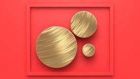 Círculo do ouro no sumário mínimo 3d do fundo vermelho para render ilustração stock