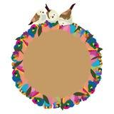 Círculo do pássaro das rosas da flor do arco-íris Imagem de Stock