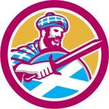 Círculo do protetor da espada do Scotsman do escocês retro Imagens de Stock Royalty Free