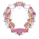 Círculo do Valentim das flores para sempre Fotografia de Stock