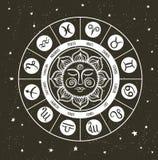 Círculo do zodíaco com sinais do horóscopo Ilustração desenhada mão Fotos de Stock Royalty Free