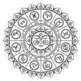 Círculo do zodíaco com sinais do horóscopo Ilustração desenhada mão do vetor Fotografia de Stock Royalty Free