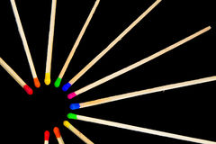 Círculo dos fósforos com cores fotos de stock