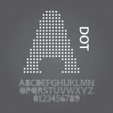 Círculo Dot Alphabet y vector de los números Fotos de archivo