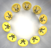 Círculo dourado do símbolo da moeda dos ienes Fotografia de Stock