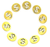 Círculo dourado isolado do símbolo da moeda do dólar no branco Foto de Stock Royalty Free