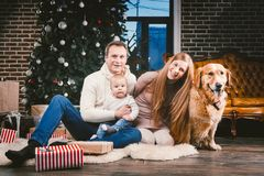Círculo familiar de la Navidad del tema y del Año Nuevo y animal doméstico nacional Papá de la mamá y mujer caucásica de 1 año de imagen de archivo