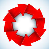 Círculo fechado do vetor das setas vermelhas Fotos de Stock