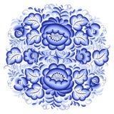 Círculo floral azul y blanco adornado stock de ilustración
