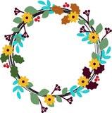 Círculo floral com folhas, botões e flores Fotografia de Stock Royalty Free