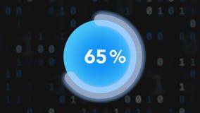 Círculo futurista con el indicador del anillo que procesa a 100 fondos de la corriente del por ciento y de pedazo ilustración del vector
