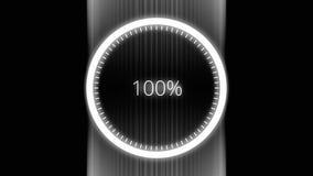 Círculo futurista con un progreso de la demostración del indicador del anillo a partir de la 0 hasta el 100 por ciento Círculo fu stock de ilustración