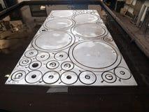 Círculo futurista, recorte del recorte del laser del acero inoxidable de la forma Fotografía de archivo libre de regalías