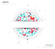 Círculo geométrico no fundo branco com o espaço para usar o texto ou o h Imagens de Stock Royalty Free