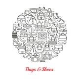 Círculo hecho de la línea iconos Bolsos y zapatos Fotos de archivo