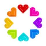 Círculo hecho de los corazones coloreados arco iris aislados Fotografía de archivo