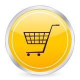Círculo ic del amarillo del carro de compras Imagen de archivo libre de regalías