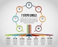 Círculo Infographic de siete pasos Imágenes de archivo libres de regalías